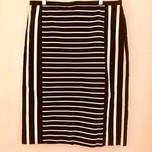 JCrew Knee Length Mixed-Striped Pencil Skirt-S 10